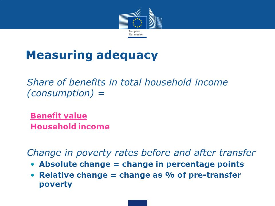 Measuring adequacy Share of benefits in total household income (consumption) = Benefit value. Household income.