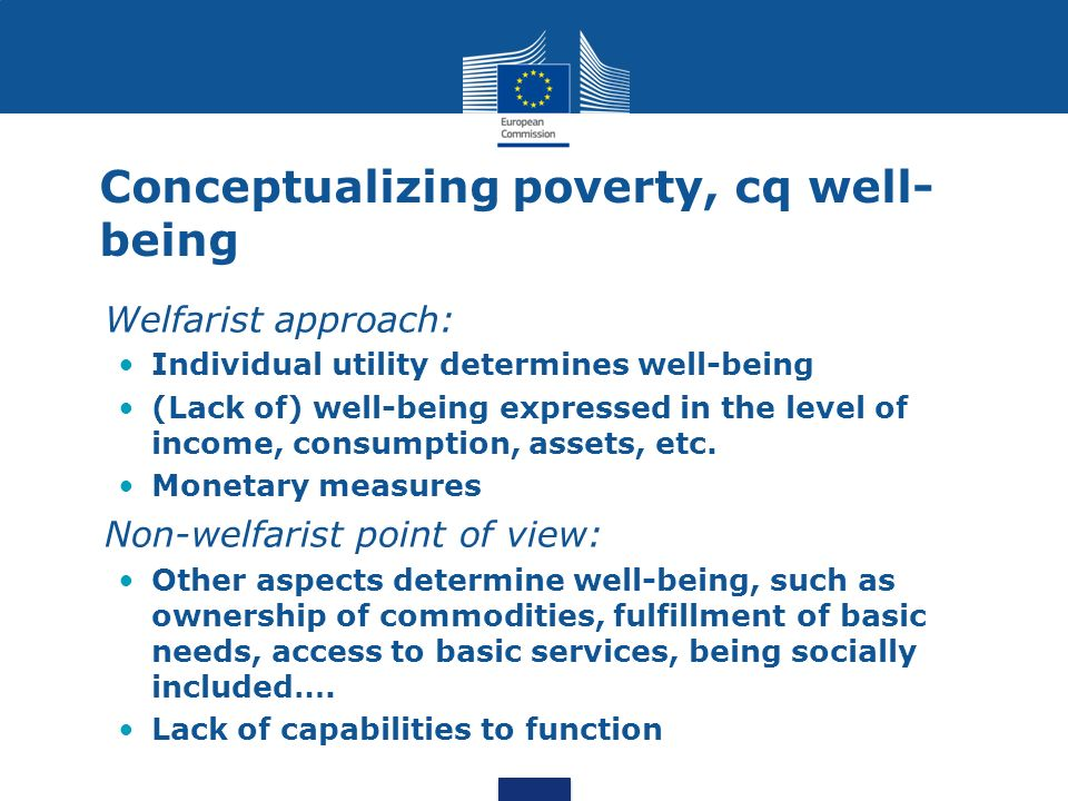 Conceptualizing poverty, cq well-being
