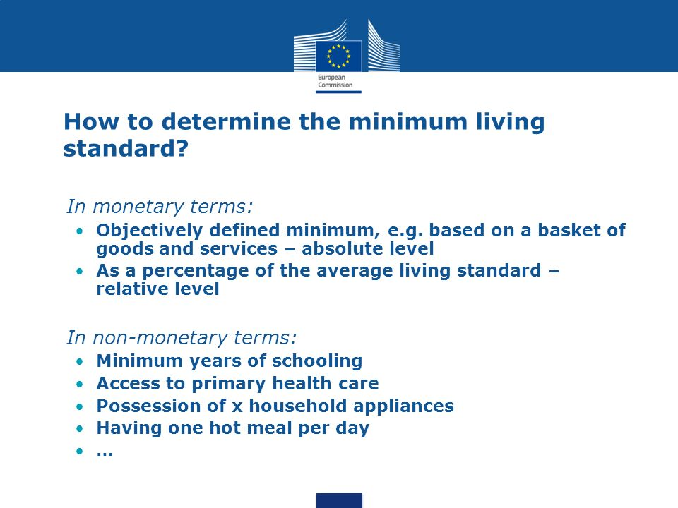 How to determine the minimum living standard