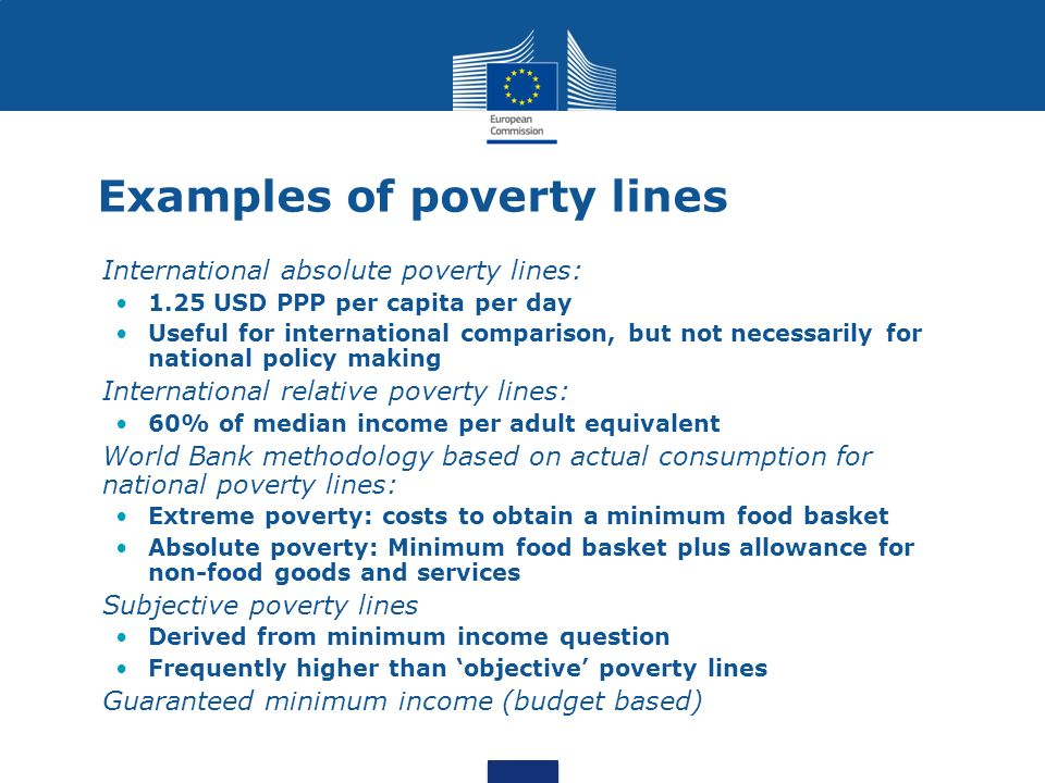 Examples of poverty lines