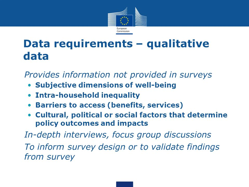 Data requirements – qualitative data