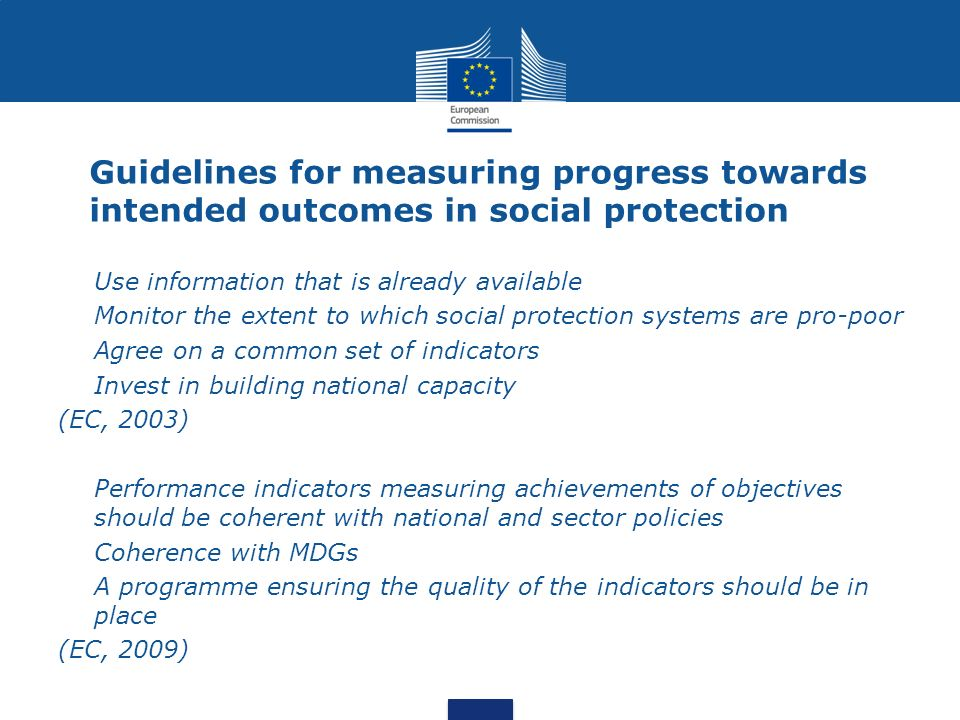 Guidelines for measuring progress towards intended outcomes in social protection