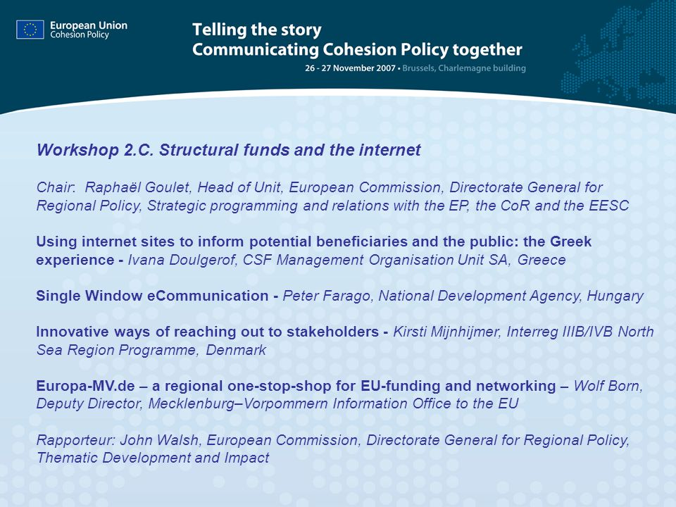 Workshop 2.C. Structural funds and the internet