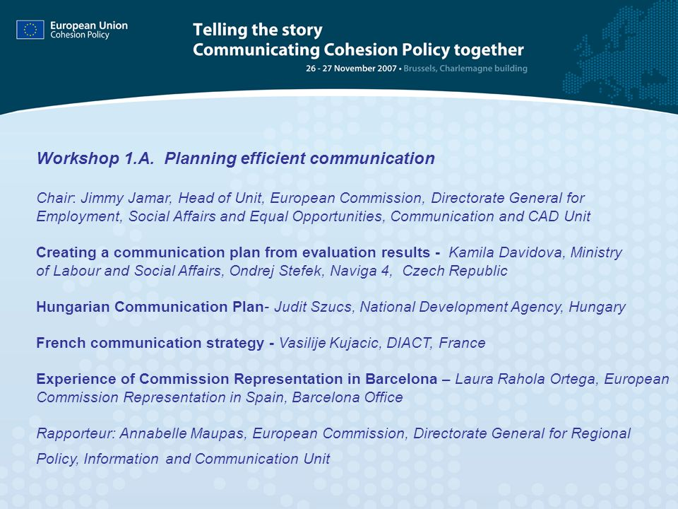 Workshop 1.A. Planning efficient communication