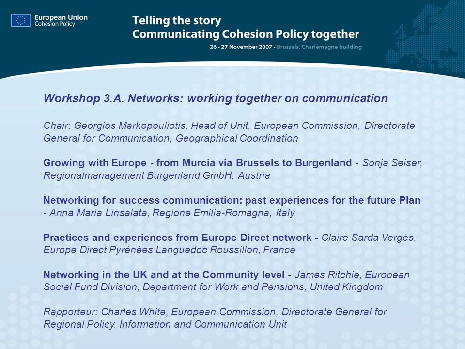 Workshop 3.A. Networks: working together on communication