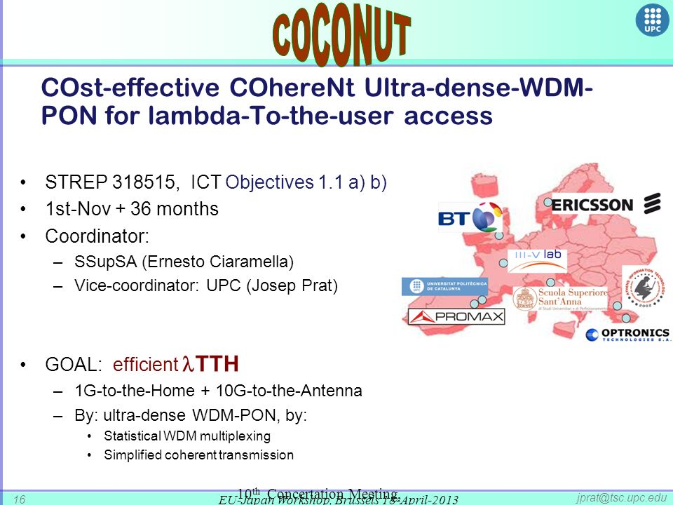 COCONUT COst-effective COhereNt Ultra-dense-WDM-PON for lambda-To-the-user access. STREP 318515, ICT Objectives 1.1 a) b)
