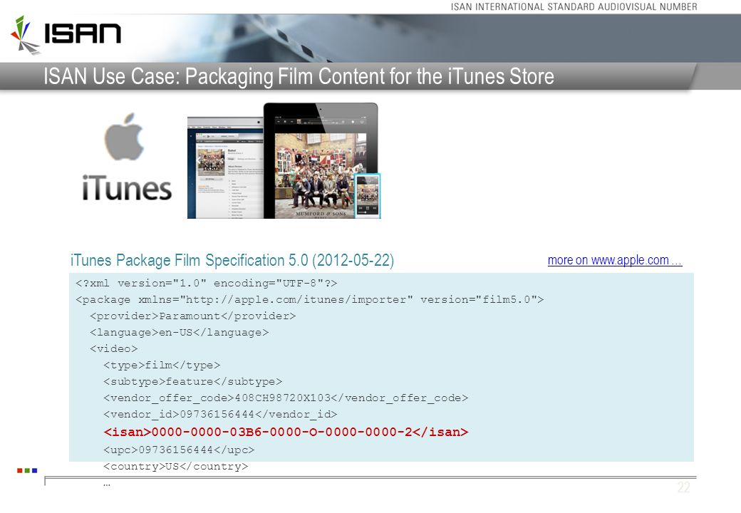 ISAN Use Case: Packaging Film Content for the iTunes Store