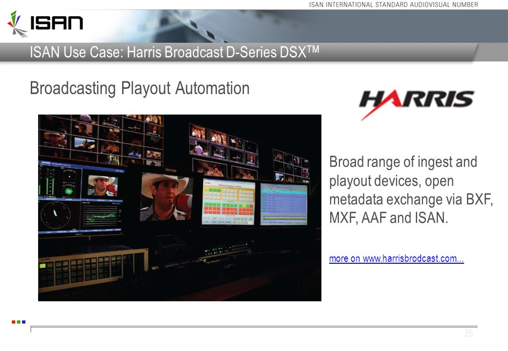 ISAN Use Case: Harris Broadcast D-Series DSXTM