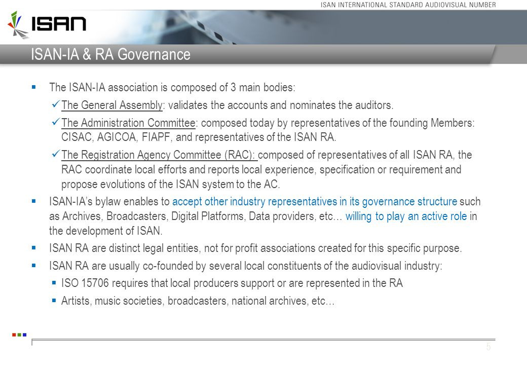 ISAN-IA & RA Governance