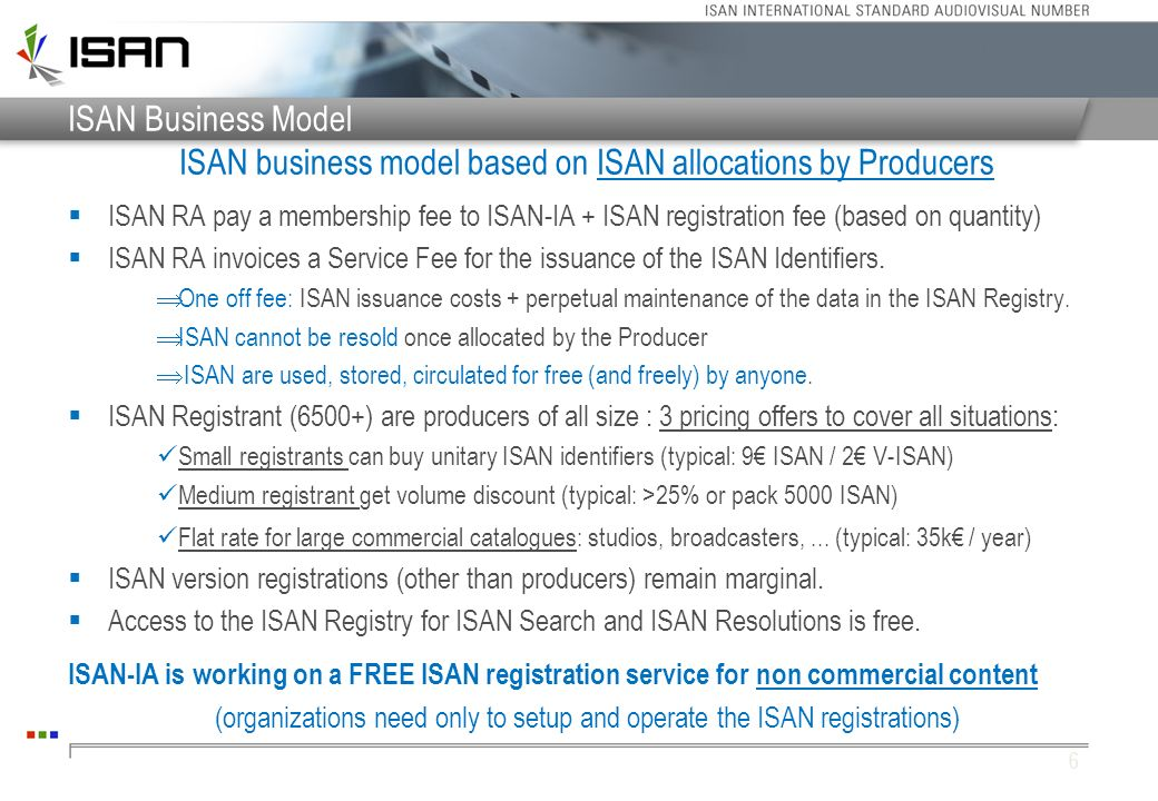 ISAN business model based on ISAN allocations by Producers