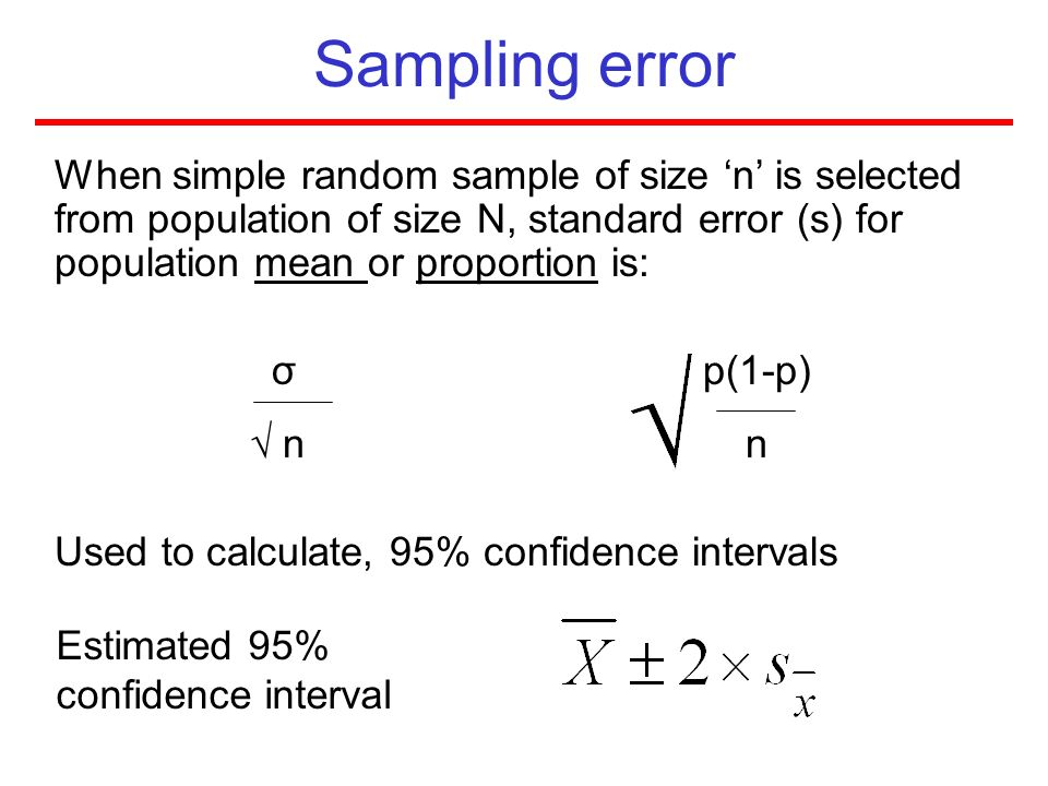 Sampling error When simple random sample of size 'n' is selected from population of size N, standard error (s) for population mean or proportion is: