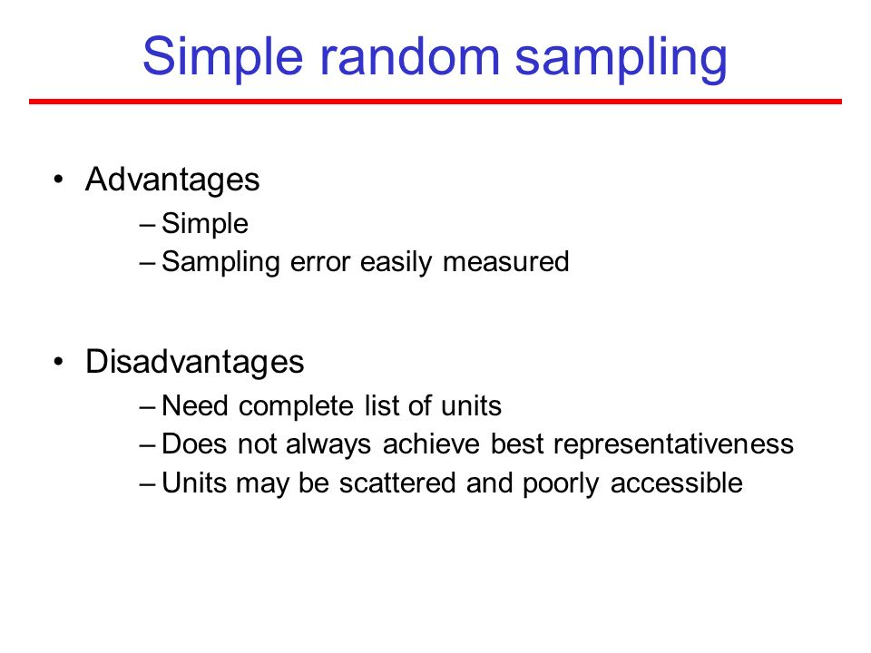 simple random sampling Simple random sampling is defined as a technique where there is an equal  chance of each member of the population to get selected to form a sample  simple.