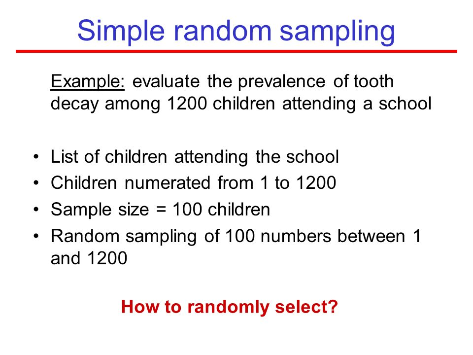 simple random sampling In statistics, a simple random sample is a subset of individuals (a sample) chosen from a larger set (a population)each individual is chosen randomly and entirely by chance, such that each.