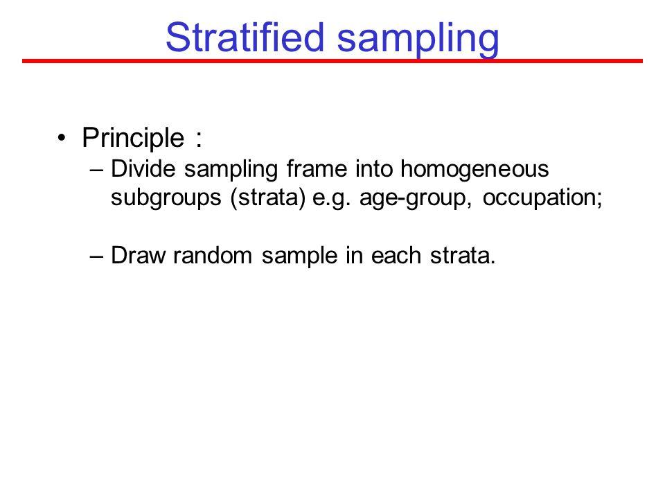 Stratified sampling Principle :
