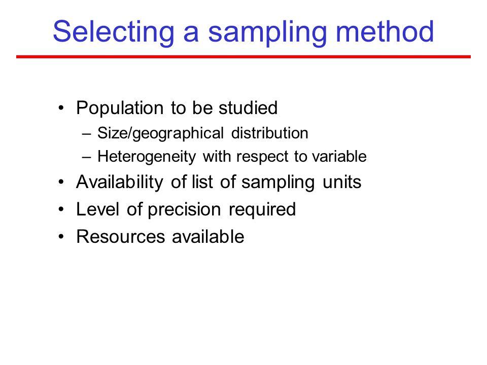 Selecting a sampling method