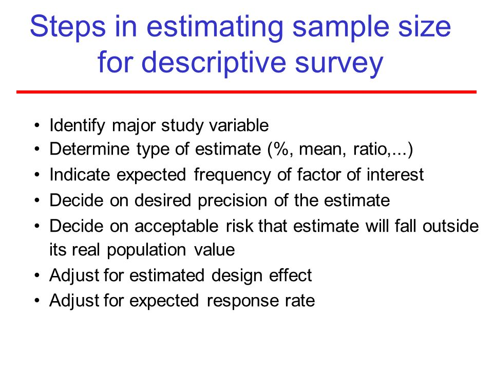 Steps in estimating sample size for descriptive survey