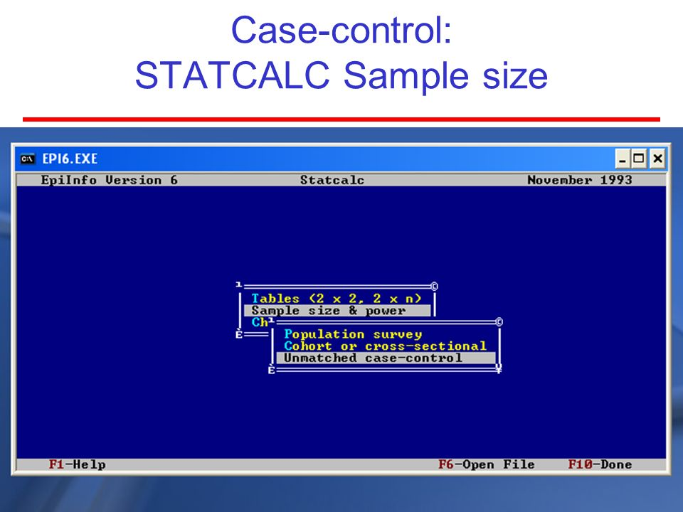 Case-control: STATCALC Sample size