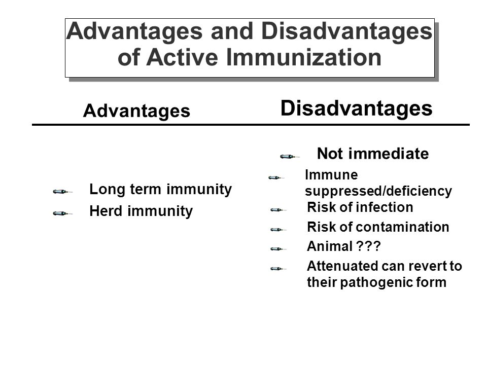 Advantages and Disadvantages of Active Immunization