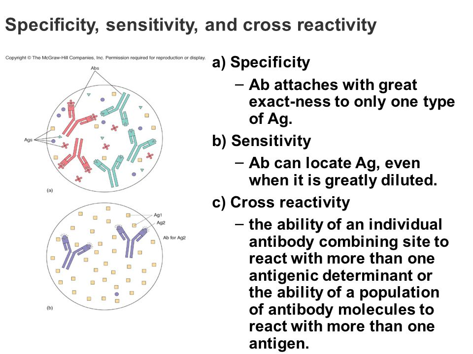 Specificity, sensitivity, and cross reactivity