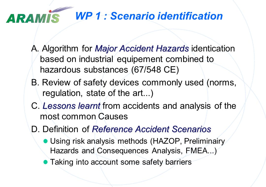 WP 1 : Scenario identification