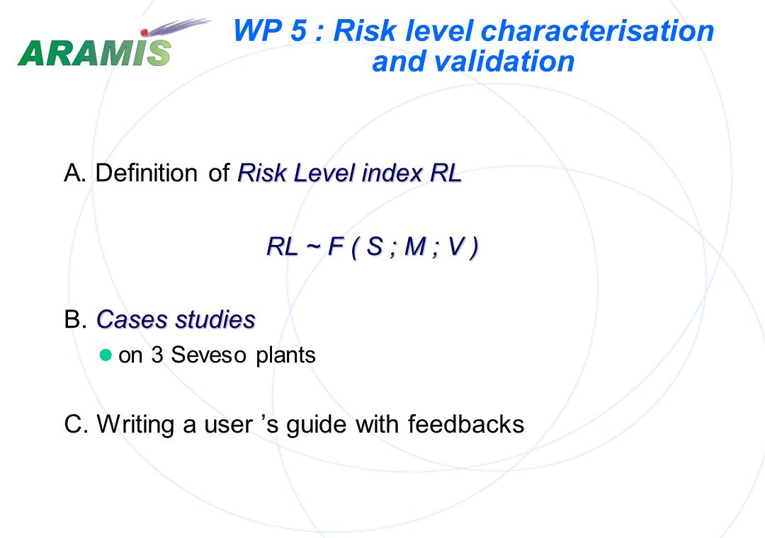 WP 5 : Risk level characterisation and validation
