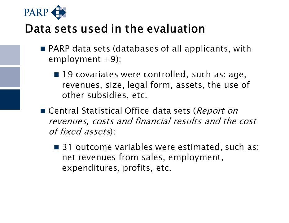 Data sets used in the evaluation