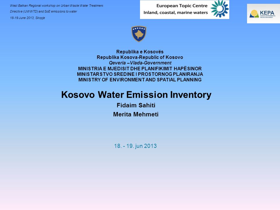 Kosovo Water Emission Inventory