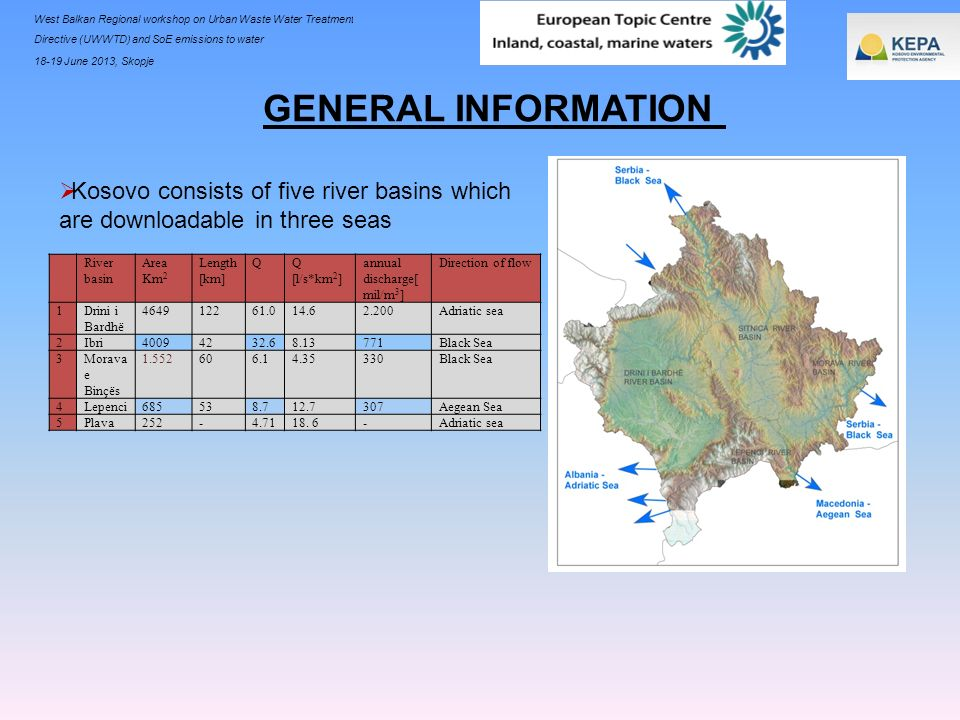 GENERAL INFORMATIONKosovo consists of five river basins which are downloadable in three seas. River basin.