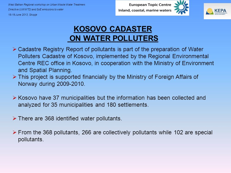 KOSOVO CADASTER ON WATER POLLUTERS