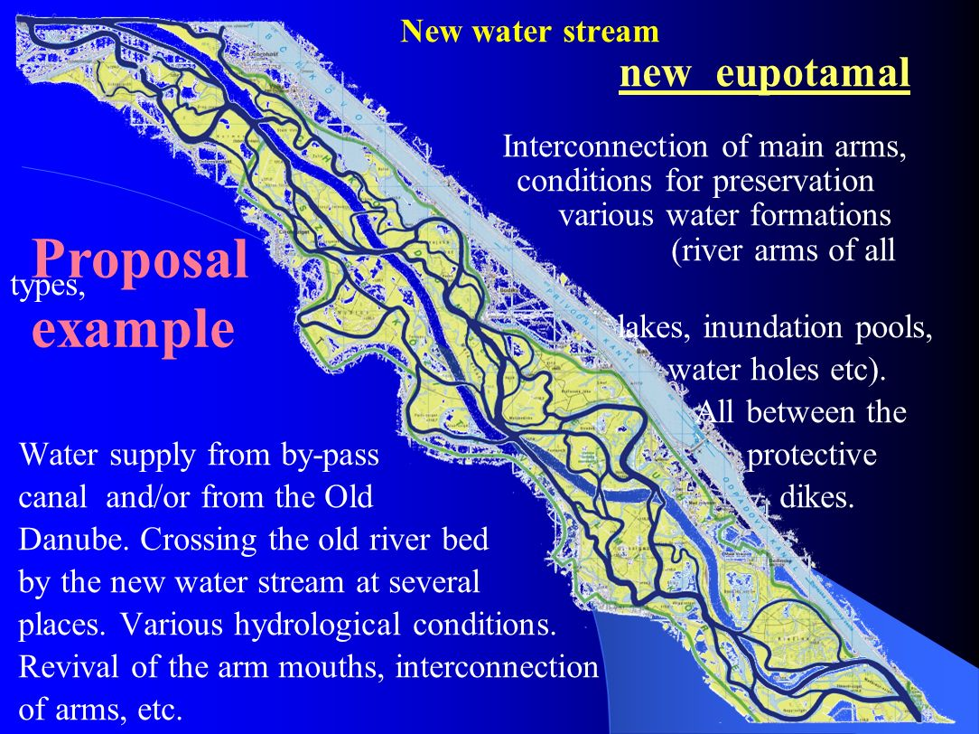 New water stream. new eupotamal. Interconnection of main arms,