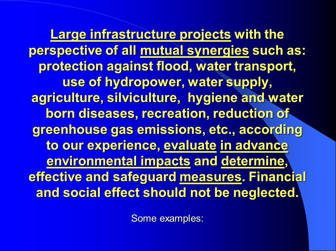 Large infrastructure projects with the perspective of all mutual synergies such as: protection against flood, water transport, use of hydropower, water supply, agriculture, silviculture, hygiene and water born diseases, recreation, reduction of greenhouse gas emissions, etc., according to our experience, evaluate in advance environmental impacts and determine, effective and safeguard measures.