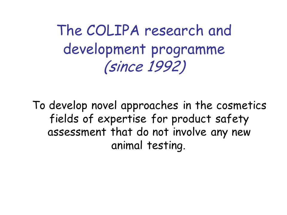 The COLIPA research and development programme (since 1992)