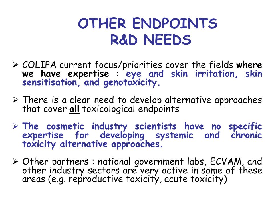 OTHER ENDPOINTS R&D NEEDS