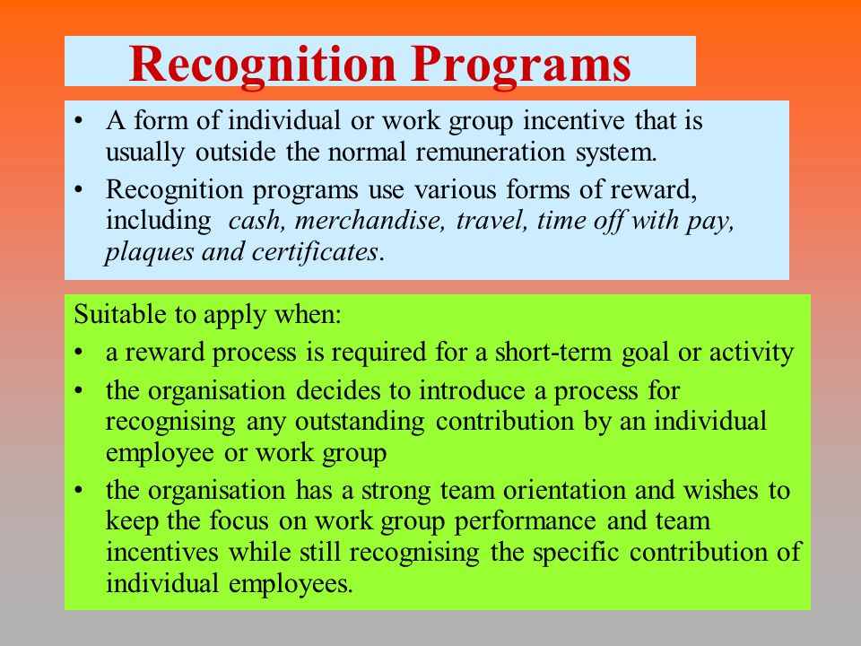 individual group reward Employee bonuses can be an effective means of rewarding and appreciating good performance — provided that you structure them appropriately the trick: giving bonuses to groups of your employees instead of on an individual basis here are some basic guidelines to help you do just that.