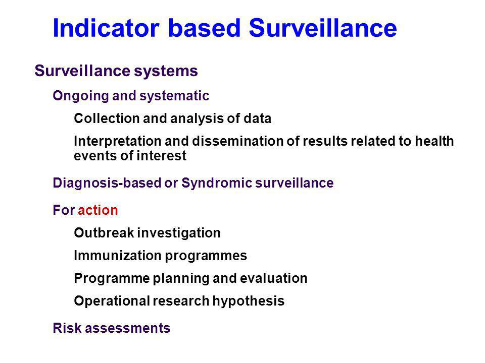 Indicator based Surveillance