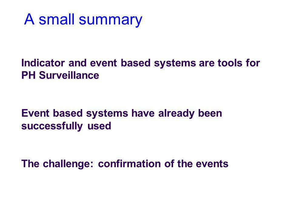A small summary Indicator and event based systems are tools for PH Surveillance. Event based systems have already been successfully used.