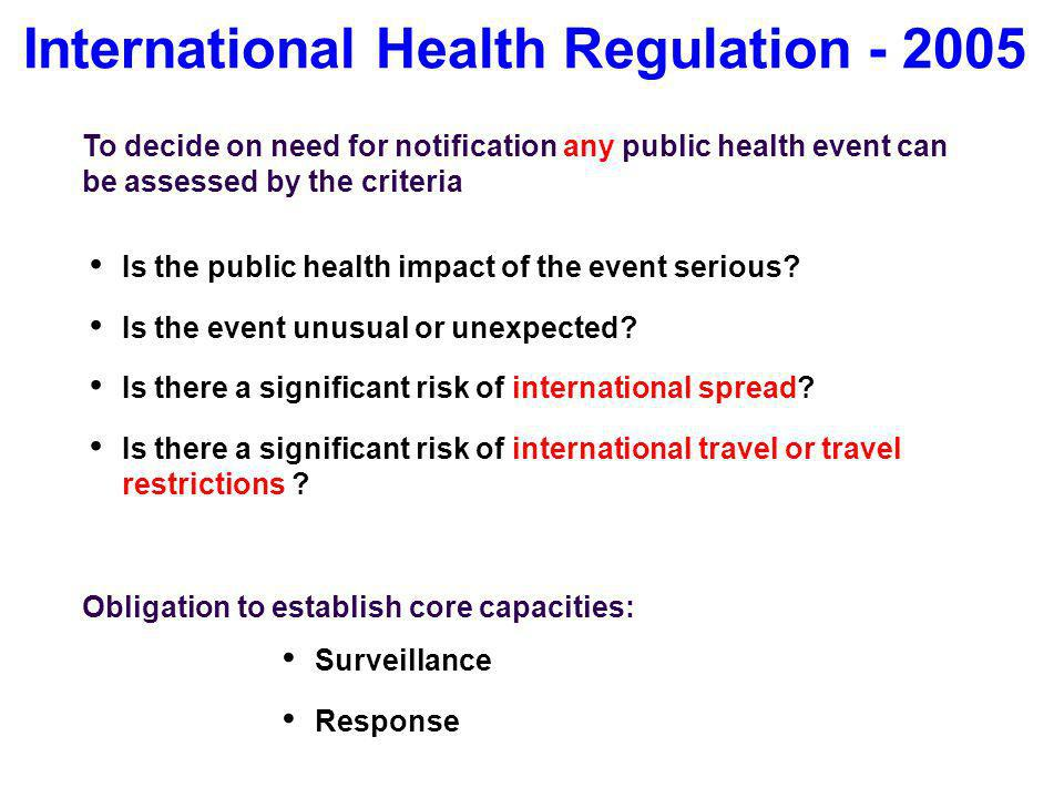 International Health Regulation - 2005