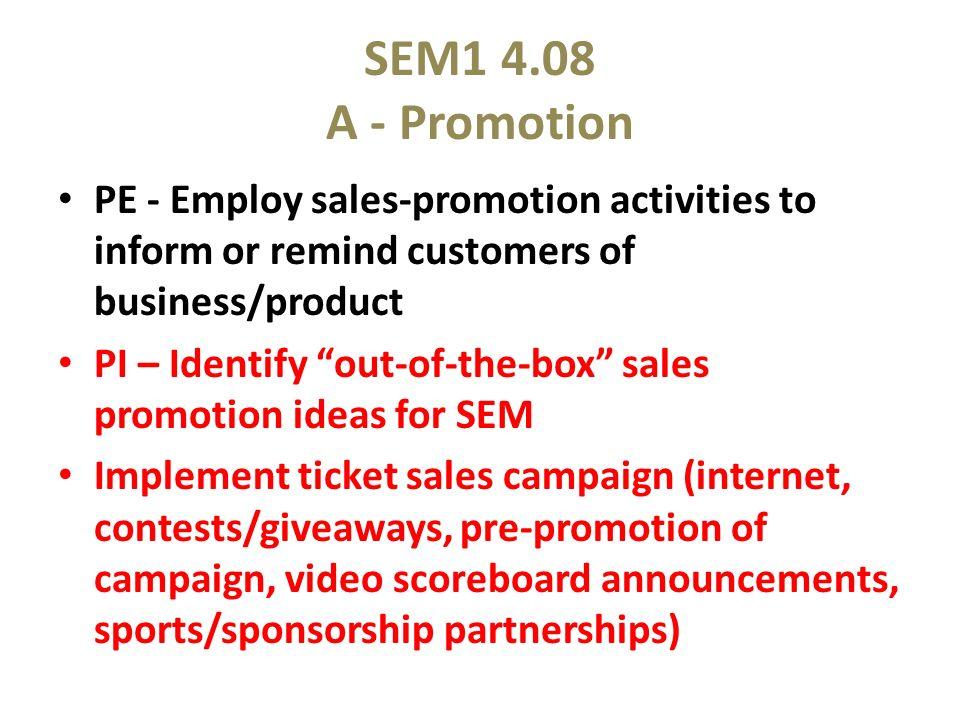 sales promotion activities