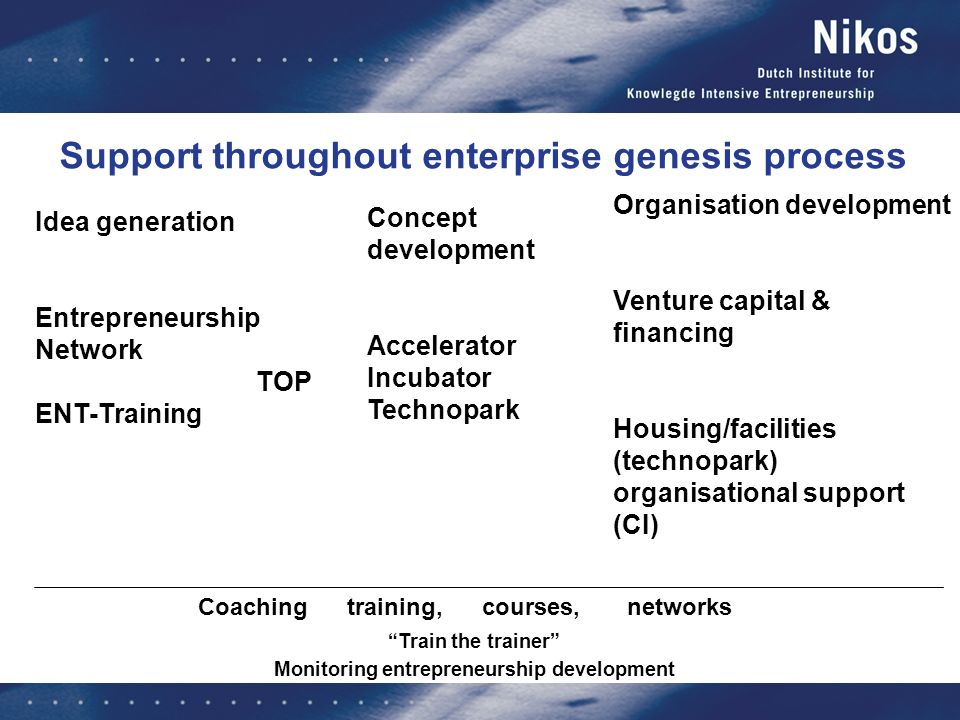 Support throughout enterprise genesis process