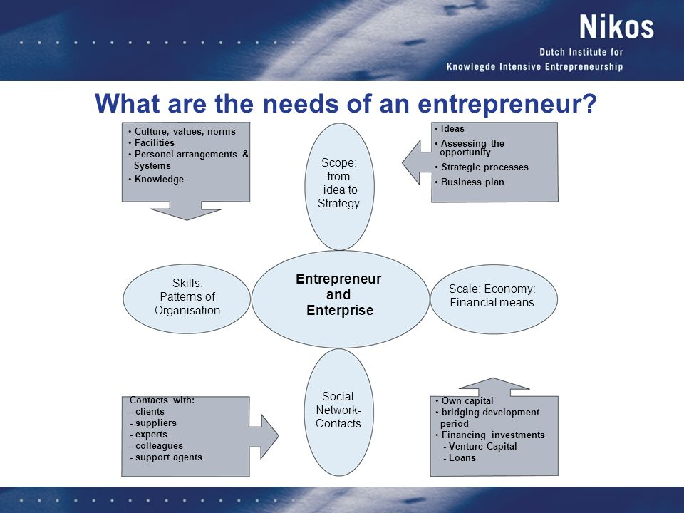 What are the needs of an entrepreneur