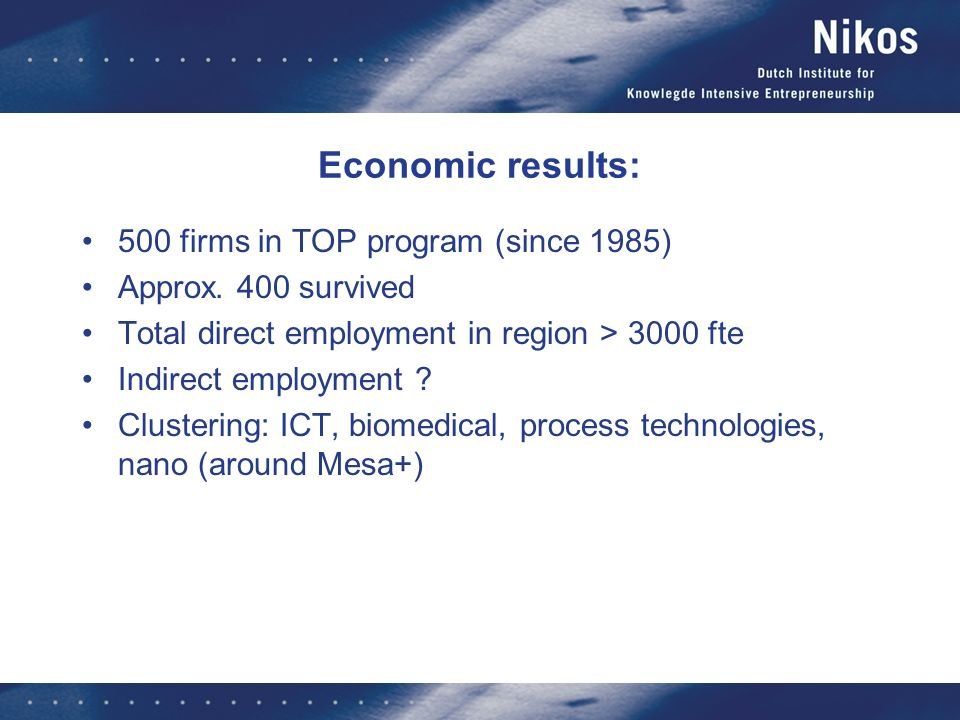 Economic results: 500 firms in TOP program (since 1985)