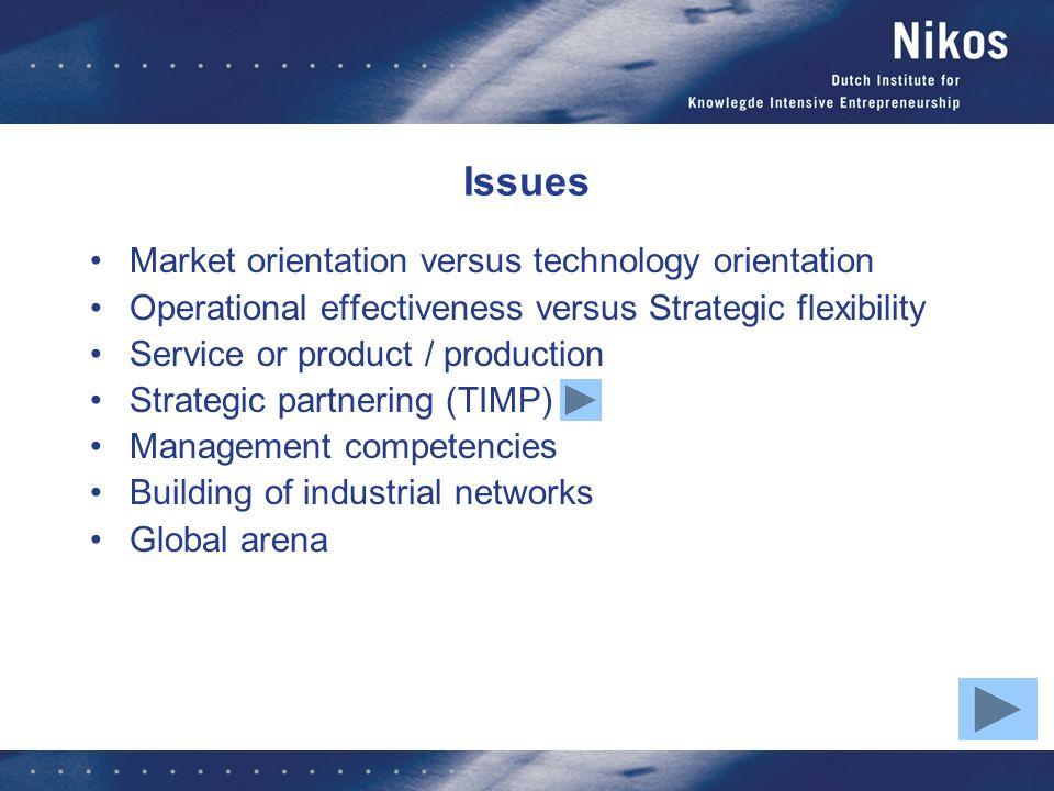 Issues Market orientation versus technology orientation