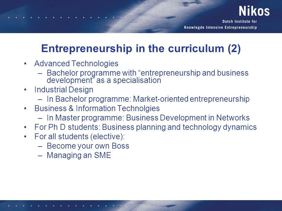 Entrepreneurship in the curriculum (2)