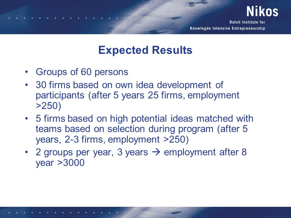 Expected Results Groups of 60 persons