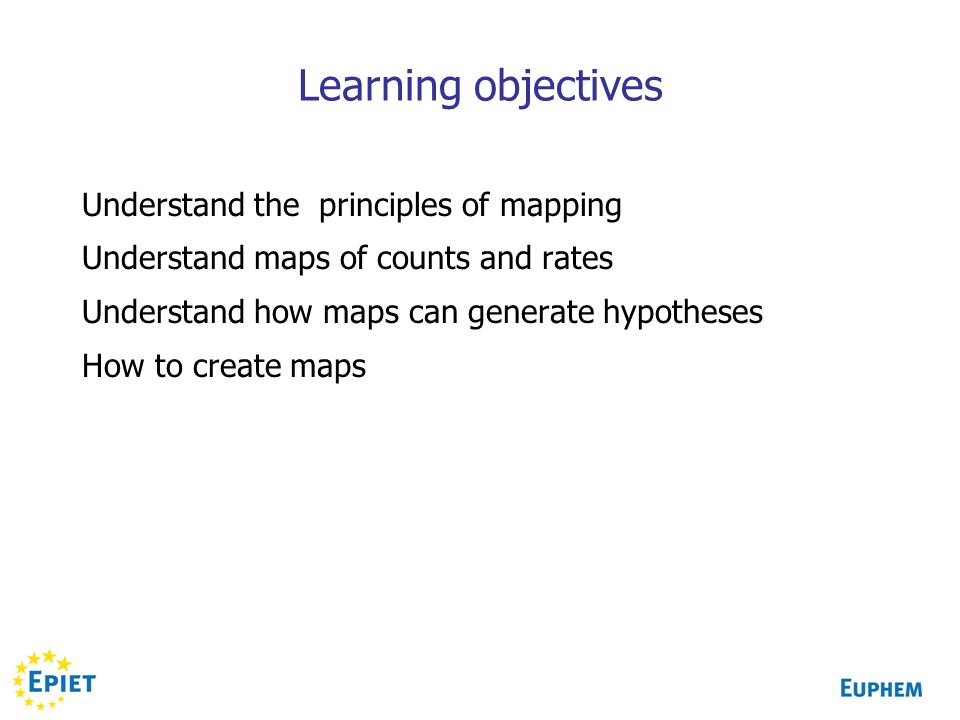 Learning objectives Understand the principles of mapping
