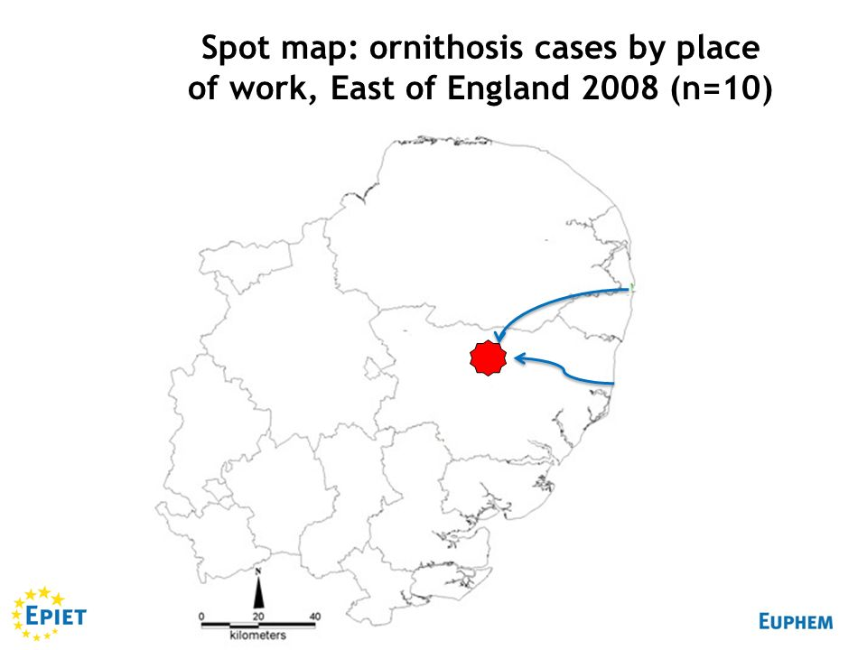 Spot map: ornithosis cases by place of work, East of England 2008 (n=10)