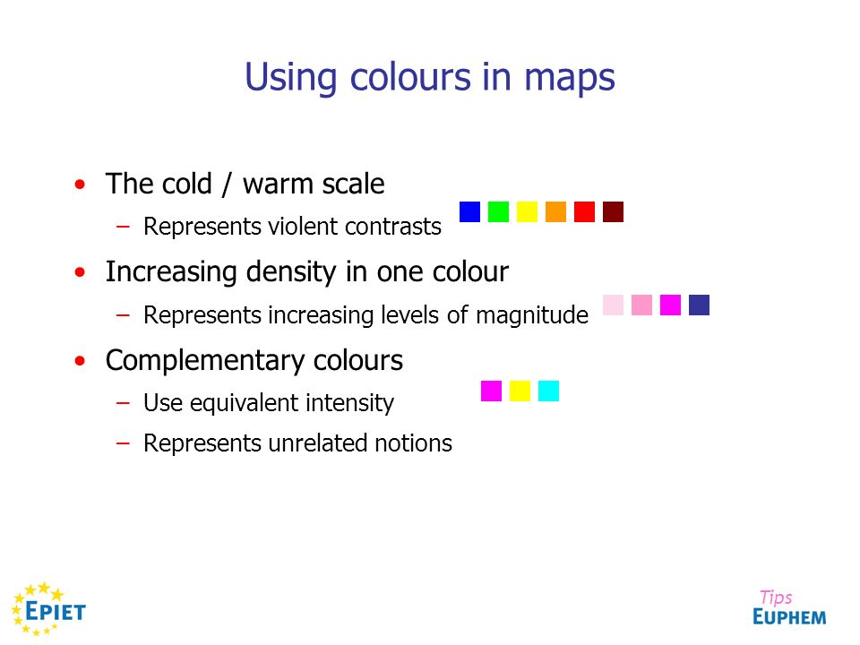 Using colours in maps The cold / warm scale