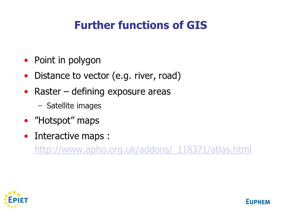 Further functions of GIS