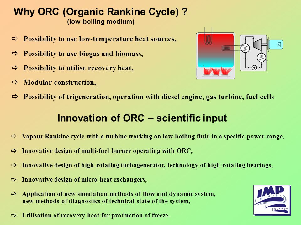 Why ORC (Organic Rankine Cycle) Innovation of ORC – scientific input
