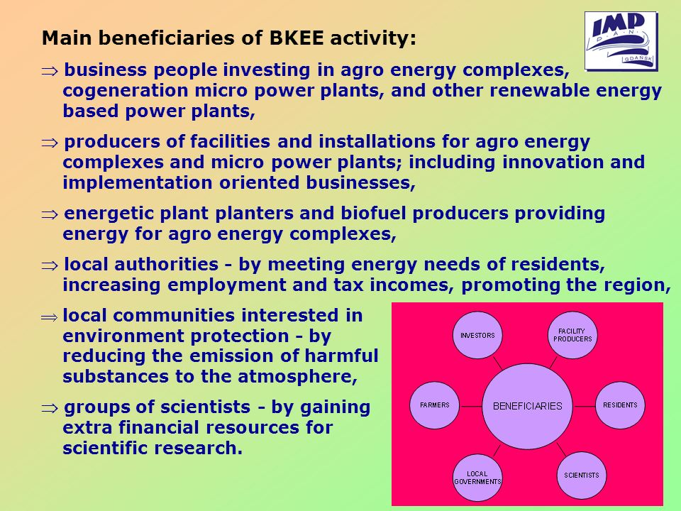 Main beneficiaries of BKEE activity: